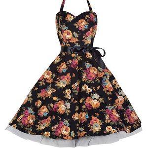 Dresses & Skirts - Lindy Bop Black Floral Swing Halter Dress Fall